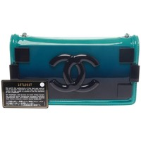 Chanel Turquoise Iridescent Plexiglass Lego Boy Brick Flap Bag