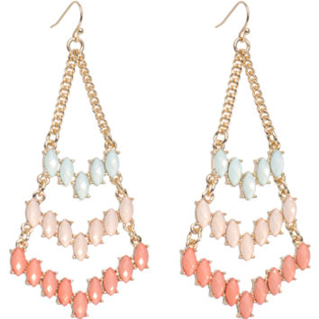 Gold Tone Pink Mint Faux Stone Inverted Kite Chandelier Earrings | Body Candy Body Jewelry