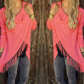 Womens Long-Sleeve Fringed Asymmetrical Shirt