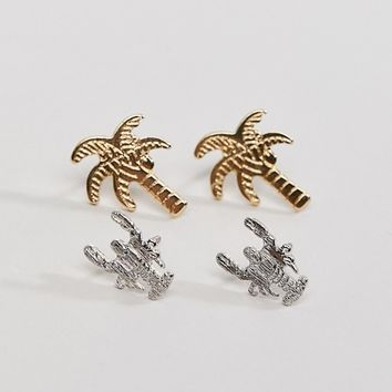 Nylon Palm and Lobster Earring Set at asos.com
