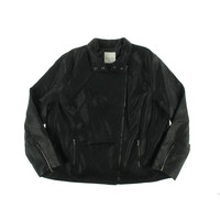 Jaime Womens Plus Faux Leather Seamed Bomber Jacket