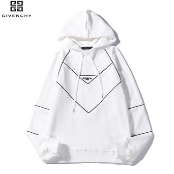 Givenchy 2018 autumn and winter new limited edition line letters loose hooded sweater White
