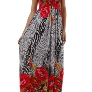 Rose and Zebra Graphic Print Beaded Halter Smocked Bodice Maxi / Long Dress