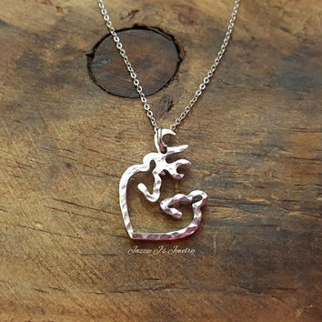 Buck/Doe Heart Necklace, Deer Heart Necklace, Gift for Her, Her Buck His Doe Necklace, Textured Necklace, Christmas Gift, Anniversary Gift