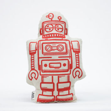 Plush Robot Pillow Screen Print Red Stuffed