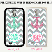 GREY CHEVRON PINK TEAL ANCHOR MONOGRAM Case For Samsung Galaxy S7 S6 NOTE 7 5 4