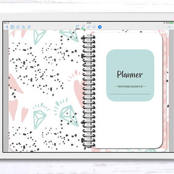 Digital Planner for GoodNotes, Undated Horizontal Weekly Pastel Planner, Digital Planner with linked tabs, iPad Planner, iPad Pro Planner