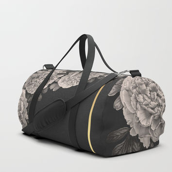 Flowers on a winter night Duffle Bag by absentisdesigns