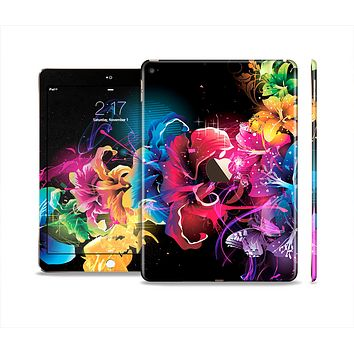 The Abstract Bright Neon Floral Skin Set for the Apple iPad Air 2