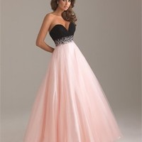 Strapless Ruched Sweetheart Beaded Waistband Ball Gown Chiffon Prom Dress