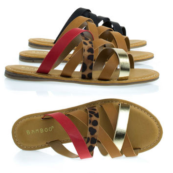 Happiness02 Leopard Combo by Bamboo, Flat Slip On Gladiator Strappy Sandals, Women Casual Slipper Shoes