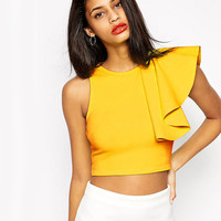 Yellow Sleeveless One Sided Ruffle Detailed Crop Top