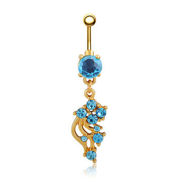 New Charming Dangle Crystal Navel Belly Ring Bling Barbell Button Ring Piercing Body Jewelry = 4804866692