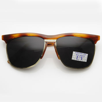 Vintage Half Frame Retro Horned Rim Sunglasses 7002