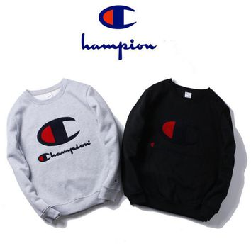 Tide brand Champion towel embroidery letters round neck sweater men cotton plus velvet Teenage jackets fall and winter