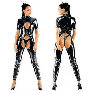 party costume New Latex boysuit costume preto Sexy Latex Catsuit Cat fantasias Lingerie ternos Club Wear para mulheres