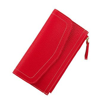 Women Wallets Long PU Leather Coin Purse Zipper Ladies Clutch Money Phone Bag Women's Thin Card Holders Slim Woman Wallet Red