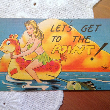 Vintage Postcard, Pin Up Girl Comic Card - 1940s Linen Paper Ephemera