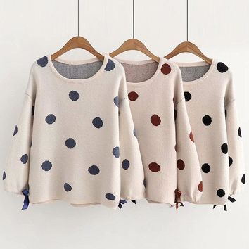 Polka Dot O-neck Loose Sweaters