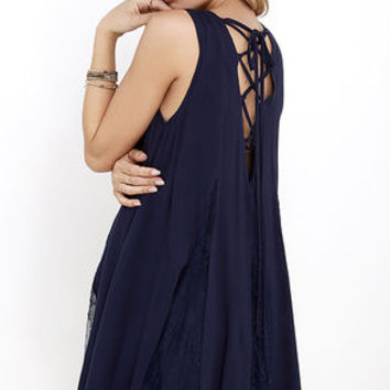 Swing Fling Navy Blue Lace-Up Swing Dress
