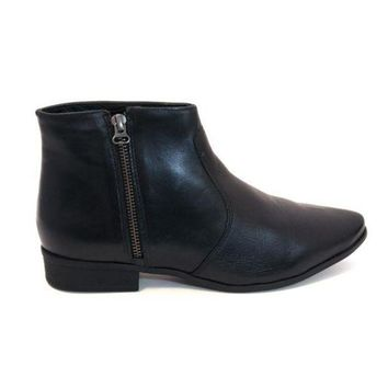 Chelsea Crew Jupiter   Black Short Side Zip Flat Boot