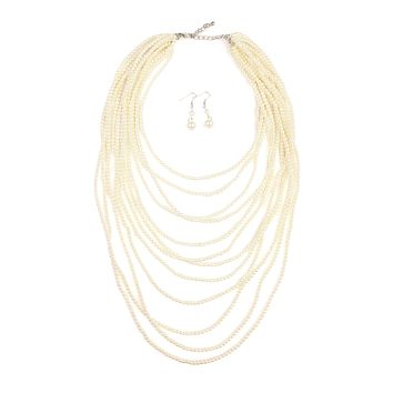 Glass Pearl 12-Layered Necklace and Earring Set