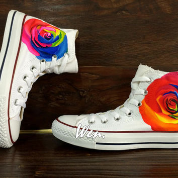 WEN Original Design Rose Converse Rose Custom Shoes Hand Painted Shoes,Painted Custom Shoes Custom Converse Chuck Taylor Canvas Shoes Gifts