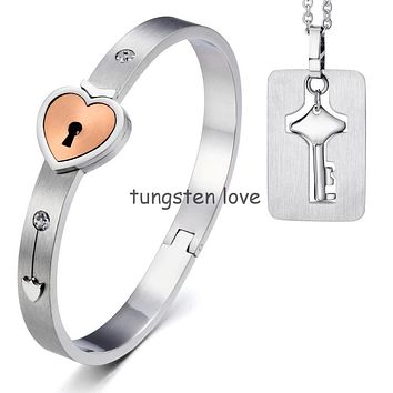 New Lovers Stainless Steel Heart Lock Love Bangle Bracelet with Key Tag Pendant Necklace Couples Jewelry Sets, Hypoallergenic
