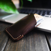 Mens Leather Slim Wallet / Men Wallet / Slim Vertical Card Wallet /Brown/ Hand Craft Wallet / Cityofgod