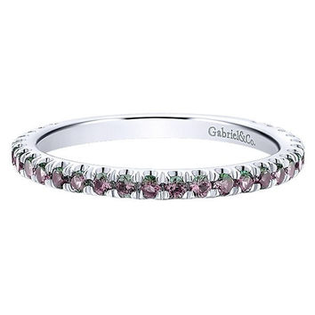 14K White Gold Created Alexandrite Stackable Birthstone Ring