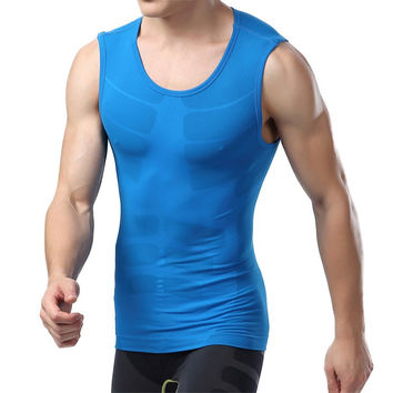 Men Compression Sleeveless  Tight Shirts Fitness Base Layer Tops M-XL