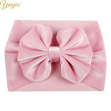 Girls 5'' Big Floppy Velvet Bow Headband For Kids 2019 Solid Elastic Velvet Hair Band Large Bows Children Soft Hair Accessories
