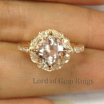 Morganite with Diamonds Engagement Ring in 14K Rose Gold,Vintage Floral Design HALO Cushion Cut Morganite Wedding Bridal ring