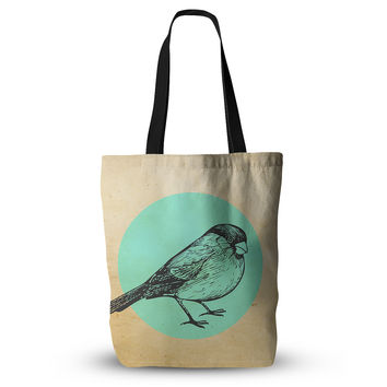 "Sreetama Ray ""Old Paper Bird"" Teal Circle Everything Tote Bag"