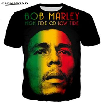 New Casual summer top Fashion Hip hop T-shirts Reggae originator Bob Marley 3D printed Men/Women O-Neck harajuku streetwear tops