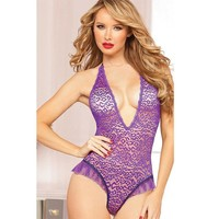 On Sale Hot Deal Cute Summer Pale Violet Lace Embroidery Sexy One-piece Exotic Lingerie [6596517379]