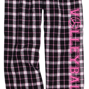 Volleyball Black Pink Lounge Flannel Pant with Pockets