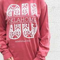 Crimson OU Damask long sleeve women's t-shirt