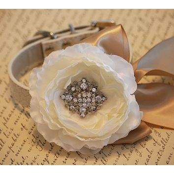 Floral Dog Collar, Pet Wedding, Toasted almond wedding