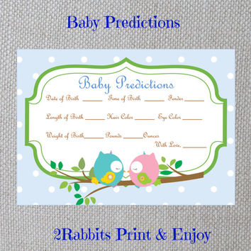 Love Birds Owls Baby Shower - Baby Predictions - Printable Baby Shower Cards- Instant Digital Printable - Light Blue Polka Dot -Owls in Love