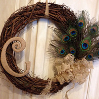 Peacock Feather Monogram Grapevine Wreath, Peacock Wreath, Peacock feather Wreath Peacock Feather, Summer Wreath, Wedding gift, Mother's Day