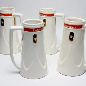 1965-67 Budweiser Advertising White Pottery Stein Set Gold Decoration w Logo and Red Top Holds 12 oz and In Perfect Condition Vintage Stock