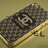 Luxury Black Gold Frame Chanel Inspired Hard Back Case Cover for Apple iPhone 4 4S