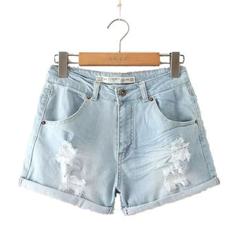 Stylish Rinsed Denim Ripped Holes Women's Fashion Shorts Jeans [5013324164]