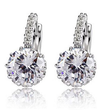 CZ Diamond Stud Earrings Cubic Zirconia Earrings Bridal Jewelry 94a17bc5fb
