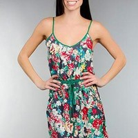 GREEN SPAGHETTI STRAP FLORAL PRINT DRESS @ KiwiLook fashion