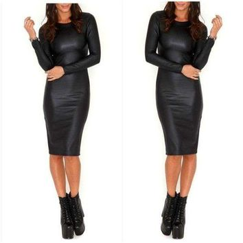 Sexy Women's Faux Leather Long Maxi Dress Bodycon Cocktail Party Dress Clubwear