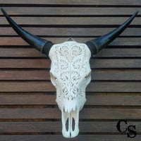 Hand Carved Bull Steer Cow Skull Head, Circle Pattern, Animal Skull Head, Skull Bone Art, Skull Wall Mount Decor, Rustic Country Home Decor