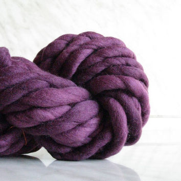 Extra Bulky yarn, Super chunky yarn ATLAS Purple Marsala, 3.5oz mega thick yarn, hand spun merino wool, blanket yarn