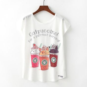 Catpuccino For A Perfect Morning Cat Paw Coffee Loose Flowy T-Shirt
